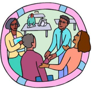 zīmējums ar četru cilvēku sarunu